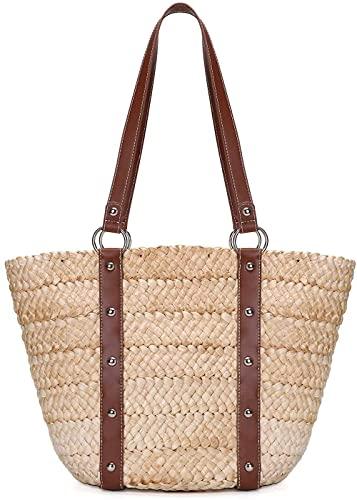 Bolso de mano de paja Bolso de playa elegante Bolso tejido Gran verano Playa Asas de cuero Bolso de mano Blancoroto 23x14.5x26cm