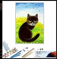 {DIYフォトフレーム} DIY油絵、 かわいい猫の動物 によるペイント 大人・子供・初心者用 アクリルペイント 数字による絵画 絵画 キット 大人 子供 アートクラフト 自宅 壁 装飾 40x50cm