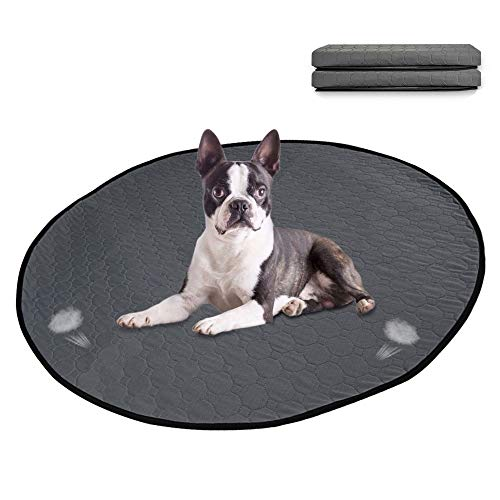 Lukovee Washable Round Dog Pee Pad, Super Fast Absorbent Reusable Waterproof Comfortable Unscented Puppy Doggy Cats Potty Housebreaking Training Pads Puppies Whelping Mat for Daily Use Grey