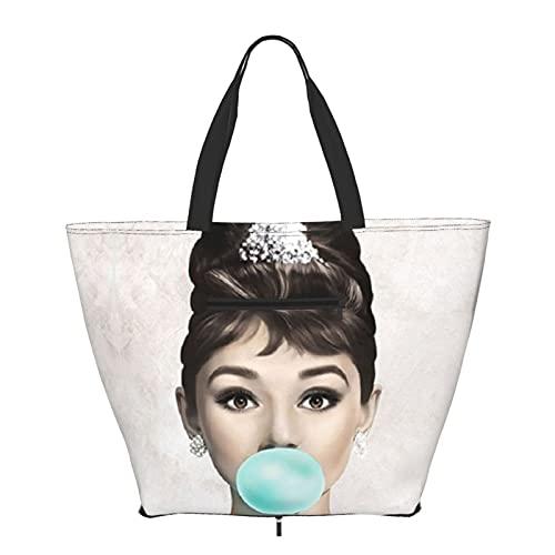 Audrey Hepburn Tote Bag Shoulder Handle Simplicity Style Big Capacity Shopping Bag Gym Beach Travel Daily Unisex Foldable