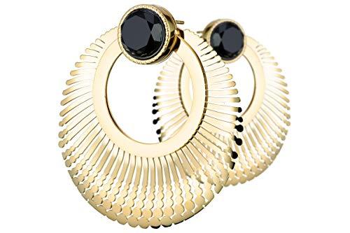 Ikita - Pendientes perforados con radios claopacidad, metalización, oro ónix