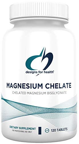 Designs for Health Magnesium Chelate Tablets - 200mg Magnesium Bisglycinate Chelate - Non-GMO Supplement Designed to be Easier on The Stomach (120 Tablets)