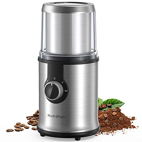 HadinEEon Electric Coffee grinder, 300W Detachable Coffee and Spice Grinder, Automatic Coffee Grinder with Removable Bowl, Compact Stainless Steel Coffee Grinder, 3 Adjustable Modes, 100g/12Cups