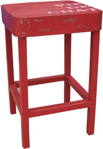 Guru-Shop Staande Tafel, Bijzettafel in Gelakt Metaal - Rood, 110x71x71 cm, Eettafels Keukentafels