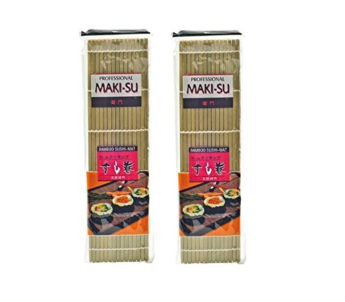 Pamai Pai® Doppelpack: 2X Sushimatte Rollmatte Bambusmatte Sushi Sushimaker 24cm Sushi Matte breite Stäbe