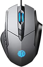 Inphic Wired Mouse with 6 Button Silent Click Ergonomic 1.5M USB Cable Computer Mouse Gamer Mice Silent Click 4000DPI Optical Mouse for PC Laptop-Grey