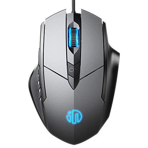 INPHIC Maus mit USB Kabel, Silent Click und 4800 DPI Optischer Sensor, 6-Tasten Büro Leise Maus für Laptop PC Computer, MacBook, Tablet - Schwarz