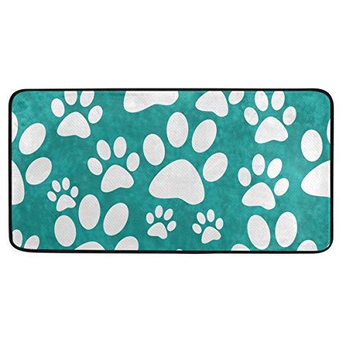 Bardic anti-slip deurmat hond Paw Prints tegel patroon deurmat Machine wasbare Slaapkamer Mat Voor Living Dineren Kamer Slaapkamer Keuken,50.8x99cm