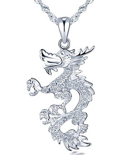 Unendlich U Fashion 925 Sterling Silber Damen Halskette Schöner Drache Zirkonia Anhänger Kettenanhänger