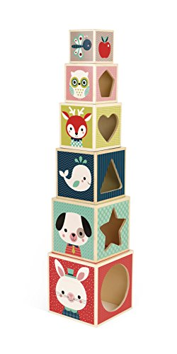 Janod Baby Forest 6-Block Pyramid Wooden...