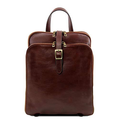 Tuscany Leather Taipei Rucksack aus Leder mit 3 Fächer Braun