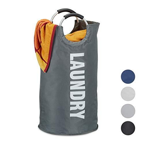 Relaxdays Faltbarer Wäschekorb, mit Henkel, tragbar, 60 l Volumen, runder Wäschesammler, H x Ø: 70 x 38 cm, dunkelgrau