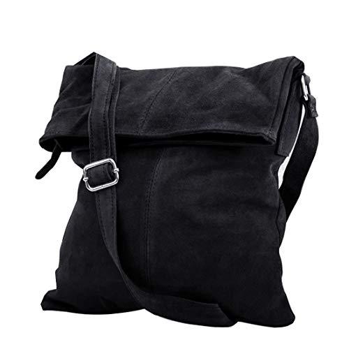 zarolo UNISEX lassige Umhängetasche, Messenger, Schultertasche, Cross Body, Wildleder Tasche, Handtasche Italienische Handarbeit M2030