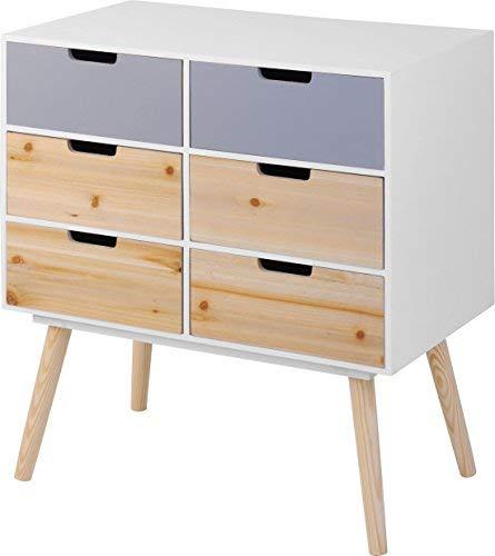 Moderne Holz Kommode im 70er Jahre Retro Design - 6 Schubladen - Beistelltisch Konsolentisch Sideboard