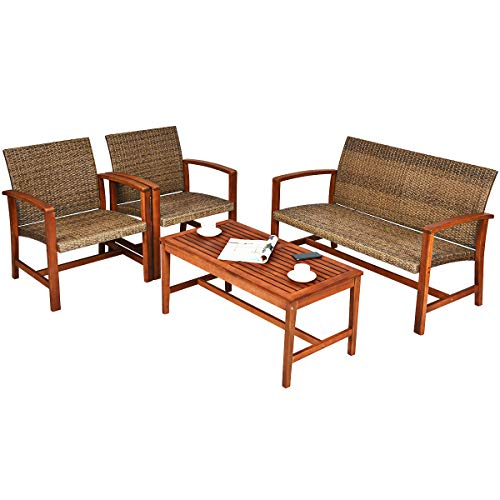 Tangkula 4 PCS Patio Acacia Wood Rattan Conversation Set, Outdoor Wicker Seating Chat Set with Acacia Wood Frame & Coffee Table, Sectional Sofa Set for Garden, Backyard, Poolside (1, Brown)