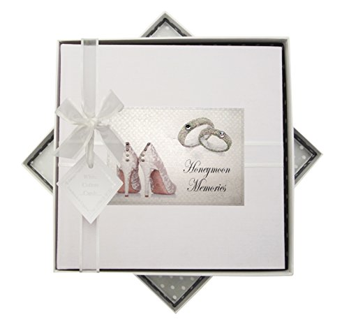 White Cotton Cards–Álbum de Fotos de Luna de Miel (tamaño Mediano), diseño de Zapatos y Anillos, Tela, Blanco, 23x 23x 5cm