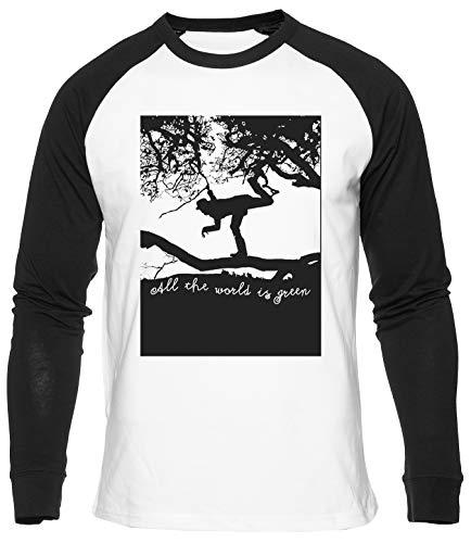All The World is Green Camiseta de Béisbol Unisex Hombres Mujeres Manga Larga Camiseta Blanca T-Shirt Baseball Men Women White tee L