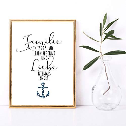 ilka parey wandtattoo-welt p202 Poster imprimé en A3 avec Inscription en Allemand Liebe Motto & Anker Plakat Deko Salon Cuisine