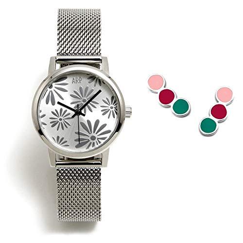 Juego Agatha Ruiz de la Prada reloj AGR261 plateado pendientes plata Ley 925m tira círculos colores - Modelo: AGR261