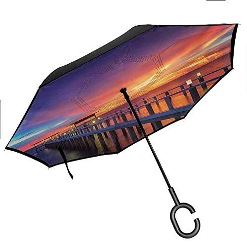 Anyangeight Landscape Inverted Umbrella Wooden Bridge in The Port at Sunrise Horizon Candle Romantic Love Image Print Folding Double Layer for UV Protection & Rain, Orange Navy 42.5'x31.5'Inch
