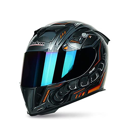 Motorrad Integralhelm für Erwachsene ECE-zertifizierte Männer Damen Motorrad-Helme Sturzhelm mit Doppelvisier für den täglichen Pendelverkehr Helme,Q,M 57~58cm