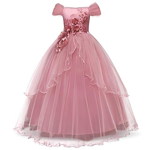 TTYAOVO Girls Applique Prom Gowns Luxury Wedding Birthday Party Princess Long Dresses Size(150) 9-10 Years Pink