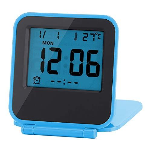 Viaggio da tavolo pieghevole portatile con sveglia digitale Akozon con calendario data temperatura settimana(Blu)