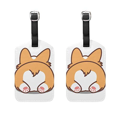 2 Pack Luggage Tags Cute Cartoon Corgi Dog Puppy PU Leather ID Labels with Back Privacy Cover for Travel Bag Suitcase