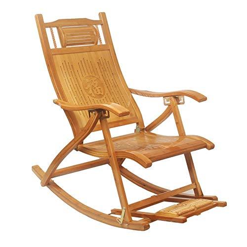 Silla plegable, silla de salón, silla plegable de bambú mecedora reclinable ajustable Balcón Verano Terraza Masaje Tumbona Silla de jardín, Cojín extraíble