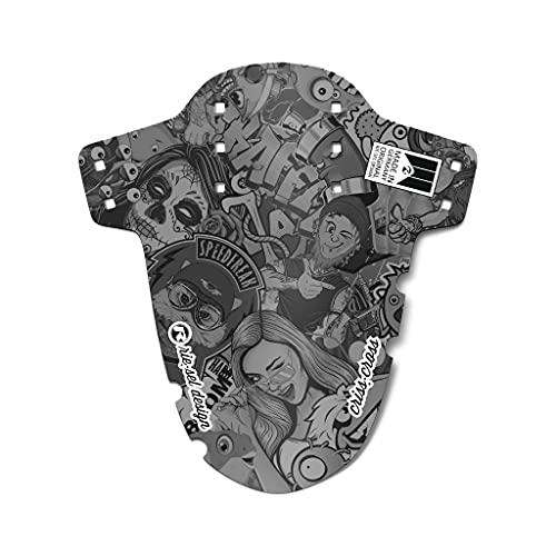 Riesel Design® Mudguard - Criss:Cross – Schutzblech vorn inkl. Kabelbinder & 2 Sticker/Fahrrad Spritzschutz für Cyclo Cross und Gravel Bike/Schutzblech vorne für Gabel - stickerbomb ub