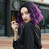 Short Bob Wavy Wigs Ombre Purple color Natural Wavy Flapper Wigs For Women Cute Bob Synthetic Daily Party Cosplay Wig For Girl Costume Fashion Wig 10 Inches Black To Purple