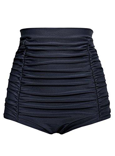 futurino Women's Retro High Waisted Bikini Bottom Ruched Swim Short Tankinis Black