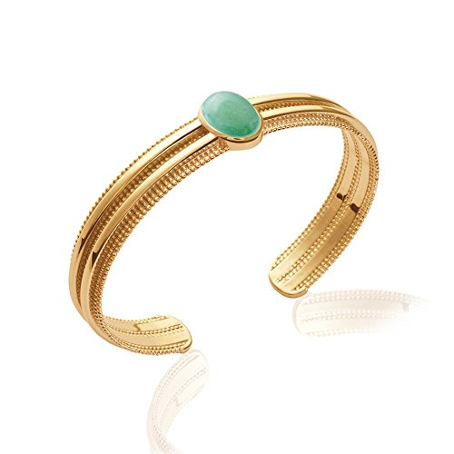 Tata Gisèle braccialetto a cerchio placcato in oro–stile Inca azteco–vera avventurina sertie–58mm–Bustina regalo velluto in omaggio