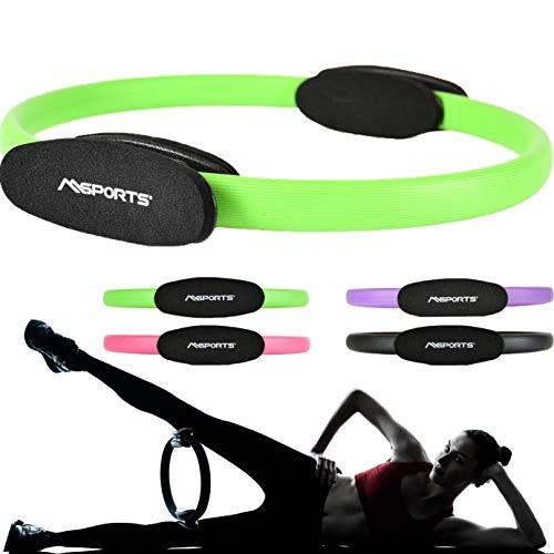 MSPORTS Pilates Ring Premium I Widerstandsring - Doppelgriff Pilates Yoga Ring 38 cm Übungskreis (Grün)