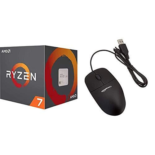 AMD Ryzen 7 3800X, Procesador con Disipador de Calor Wraith Prism (32 MB, 8 Núcleos, Velocidad de 4.5 GHz, 105 W) + Amazon Basics - Ratón con 3 Botones y Cable USB, 5V - 100mA, Color Negro