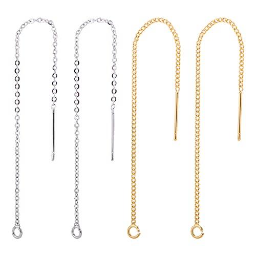 BENECREAT 20 unidades de hilos para la oreja, 2 colores, pendientes largos de cadena, con lazo y un recipiente para hacer joyas