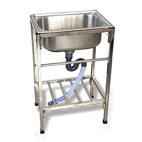 GH-YS Fregadero de Cocina Independiente con Grifo y Patas, 1 Compartimento, Fregadero de Cocina Comercial y Fregadero de Servicio, Lavabo de Acero Inoxidable para el hogar del Restaurante (sin Grifo)
