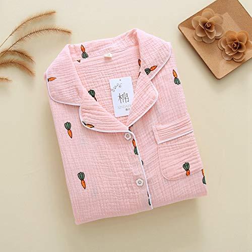 Ycxydr Schlafanzug Familie ausgestattet Frühling und Herbst Krepp Doppel Gaze Frau mit Langen Ärmeln Hosen zu Hause Mutter und Kind Ausrüstung Bademantel (Color : Pink, Size : 150)