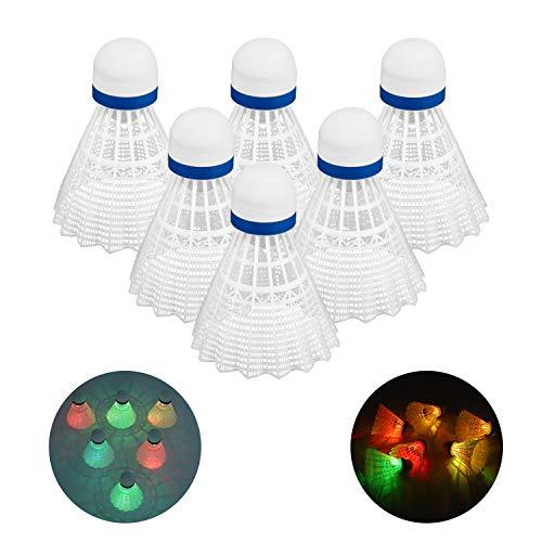 Rhino Valley LED Badminton, 6 Stück Nylon Federball Beleuchtung Durable Flugstabilität Shuttlecock Bunt Beleuchtung Bälle Sport Zubehör Birdies Bälle für Nacht Outdoor Indoor Sportsaktivitäten - Weiß