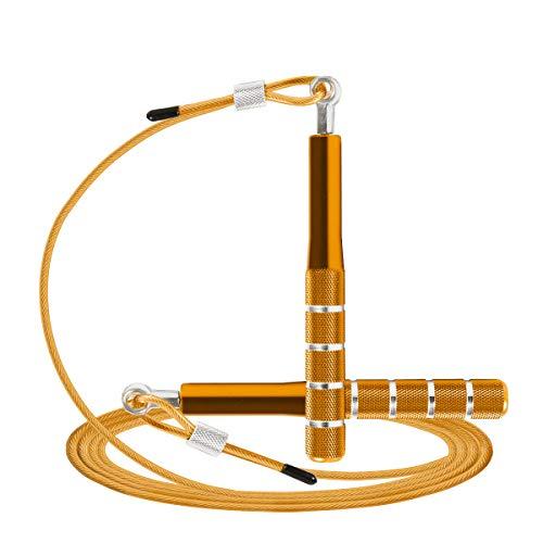 Springseil, Wastou Speed Springseil für Fitnessübungen, verstellbares Training für Erwachsene Springseil für Männer, Frauen, Kinder, Mädchen (Gold)
