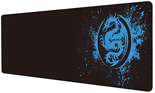 Extended Mouse Pad Anime Dragon Large Gaming Mouse Pad- 31.5x12inch Computer Keyboard Mouse Mat Mousepad Rubber Base and Stitched Edges for Game Players (Blue)
