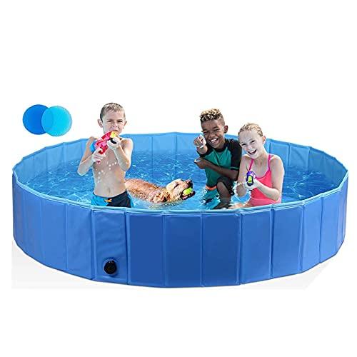 HyiFMY Piscina para Mascotas, Piscina Plegable Piscina-PVC PVC bañera de hidromasaje, Piscina para niños Plegables, Adecuado para al Aire Libre, Rojo, 160x30cm (Color : Blue, Size : 120x30cm)