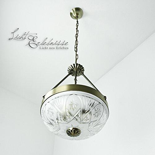 Edle Hängeleuchte in Bronze Jugendstil inkl. 2x 12W E27 LED Pendelleuchte aus Metall & Glas Hängelampe für Wohnzimmer Esszimmer Pendellampe Lampe Leuchten Beleuchtung innen