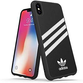 adidas Handyhülle Entwickelt für iPhone XS Max Hülle, Fallgeprüfte Hüllen, stoßfeste erhöhte Kanten, Original Schutzhülle, Schwarz und Weiß Streifen