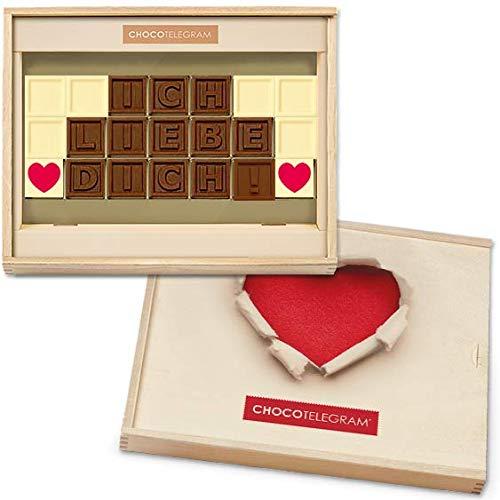 ICH LIEBE DICH! - ChocoTelegram | Schokoladenbotschaft | Ich liebe dich Schokolade | Holzschachtel mit Herzaufdruck | Valentinstag | Liebesgeschenk | Liebesgeschenke | frauen | Männer