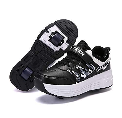 INSISTON Laufschuhe Sportschuhe mit Rollen, Kinder Schuhe mit Rollen, Mode Rollenschuhe Skateboardschuhe Kinder Schuhe mit 2 Rollen, für Kinder Mädchen Junge Erwachsene,Schwarz,35