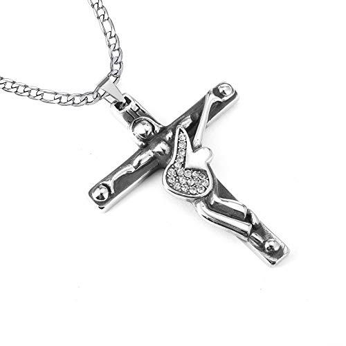 AFSTALR Croix de Johnny Hallyday Pendentif en Acier Inoxydable Argent Johnny Guitare Rocker Collier Femme Homme