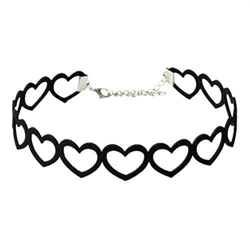 Yazilind Retro Schwarz Korea Cashmere Hohle Herz Schlüsselbein Halskette Gothic Lolita Halsband Kragen Party Geschenk für Damen mädchen (schwarz)