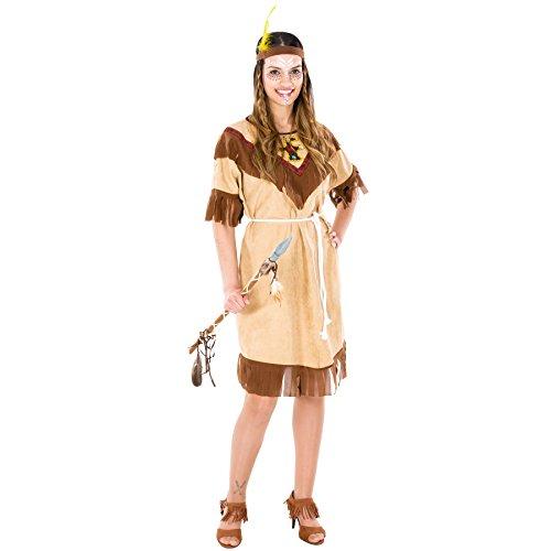 TecTake dressforfun Frauenkostüm Indianerin   schönes Kleid + Bindeband mit Federn   Squaw Indianer Verkleidung (XXL   Nr. 300603)