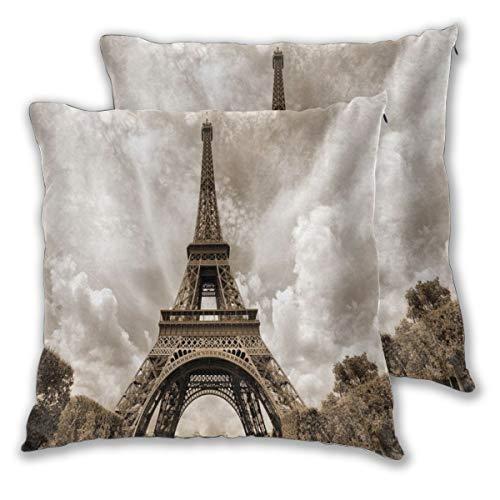 DECISAIYA Di 2 Federe 50x50cm,Parigi Torre Eiffel Sito di attrazione del Patrimonio Mondiale dell'UNESCO Paesaggio Urbano della Città della Francia,Copricuscini Cuscino Divano Camera da Letto Casa